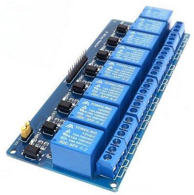 8路 光耦繼電器模組 DC 12V Relay擴展板 DC 0.1~4V低電平觸發