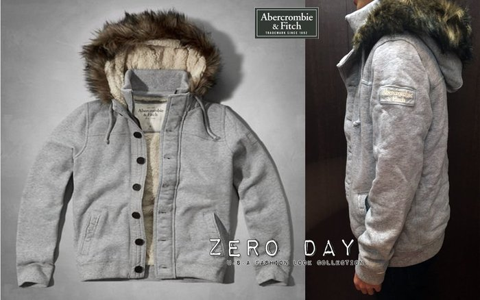 A&F Abercrombie&Fitch Pitchoff Mountain Sherpa Lined Hoodie灰