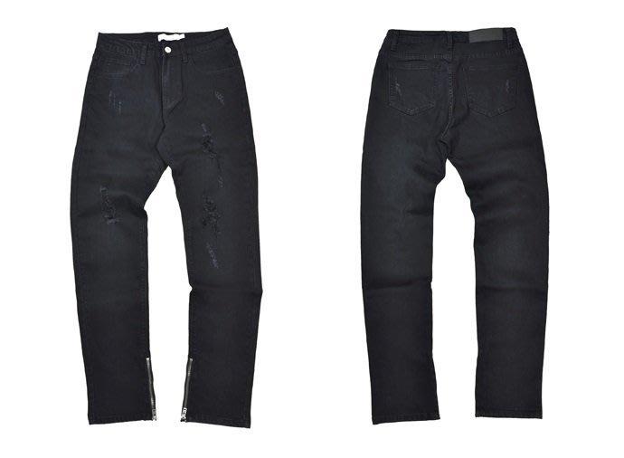 { POISON } SKATOPIA BLACK DAMAGE ZIPPER DENIM 彈性破壞水洗 黑色牛仔褲