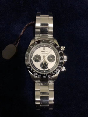 呱啦呱啦代購 日本Bathing ape新款bapex潮流猿人頭三圈daytona款式鋼帶機械表手錶高品質