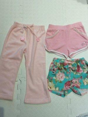 二手 女童 花花短褲 粉色小鑽運動褲 粉色刷毛褲