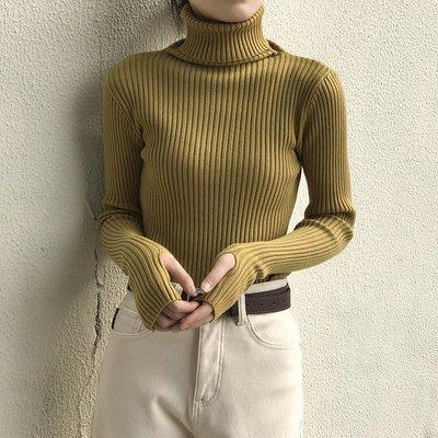 保暖打底修身顯瘦套頭毛衣手指套 加厚款袖口開洞高領坑條針織衫 艾爾莎【TAE8620】