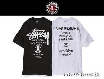 【 現貨 】全新正品 2013 限量聯名 Stussy X Mastermind JAPAN MMJ World Tour Tee 骷髏 巡迴 黑 白 S M L XL