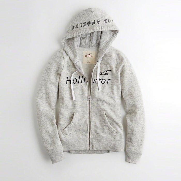 【HOLLISTER Co.】【HCO】HC女款棉質連帽外套白框黑藍字空鷗花灰 F03171213-01