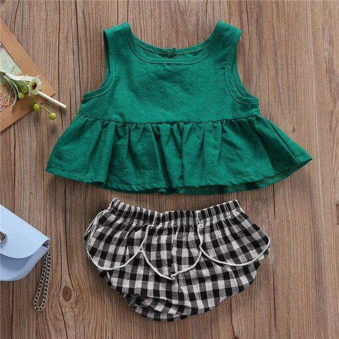 2019春夏款童裝女嬰童無袖裙衫+花瓣格子短褲兩件套@KK.KIDS