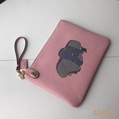 【紐約女王代購】COACH 69198 2019新款小飛象貝殼包 粉色手拿包 美國代購