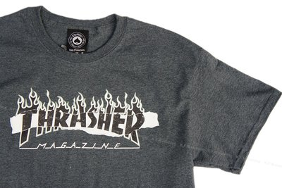【 K.F.M 】THRASHER RIPPED T-Shirt 撕裂 火焰Logo 短T 短袖