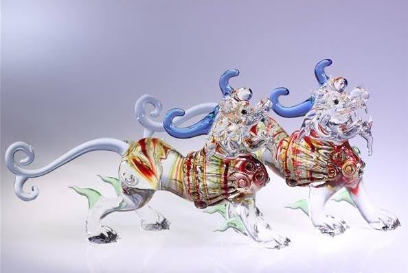 呂天寶大師 招財貔貅 (一對)琉璃 玻璃 藝術品牌 擺飾品