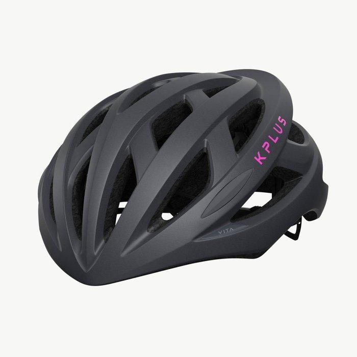 【三鐵共購】【KPLUS】VITA S系列一般色公路競速單車安全帽-灰 / 粉