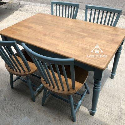 (台中 可愛小舖)歐式鄉村風格-藍色長方型餐桌大茶几客廳桌聊天桌休閒桌公坐桌討論桌會客桌邊桌餐廳咖啡廳工作室可用