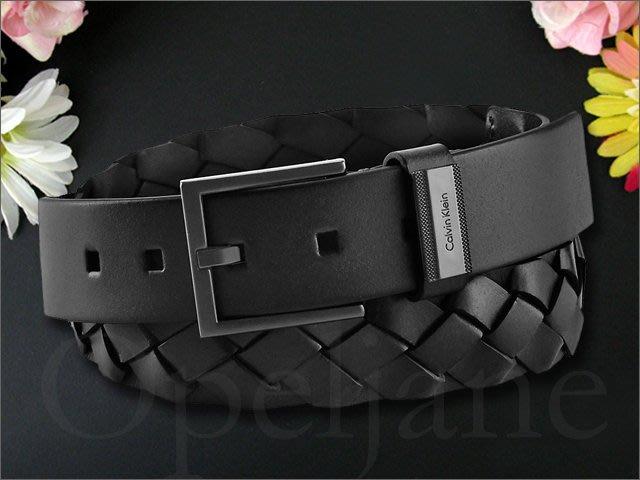 新款真品 CK Calvin Klein 卡文克萊黑色真皮編織腰帶皮帶34腰 愛Coach包包 如果有+提袋禮盒