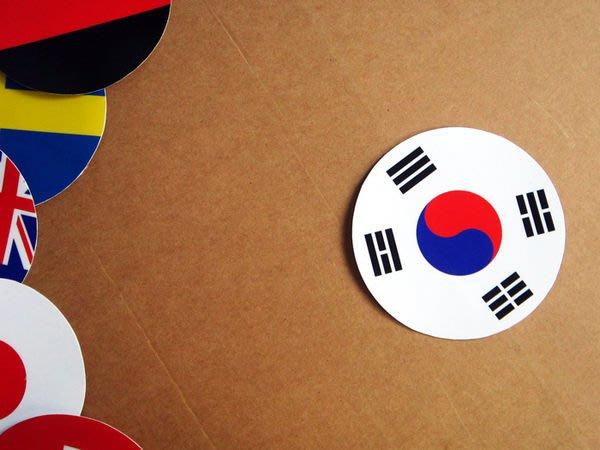 【衝浪小胖】南韓國旗圓形登機箱貼紙/抗UV防水/S.Korea/世界多國款可收集和客製