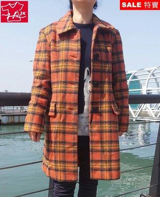 專櫃品牌 大衣 羊毛 外套 格紋 韓國 歐美 時尚流行款-女款-F-橘【JK嚴選】LV 鬼怪