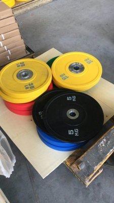 全新PU競技奧片全膠彩色杠鈴片健身房舉重大孔片  每磅55