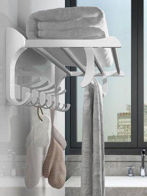 浴五金掛件毛巾架太空鋁浴巾架浴室衛生間免打孔置物架壁掛WY