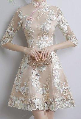 日常改良旗袍角色扮演連衣裙 新款夏秋季短款中袖低领修身少女清新学生