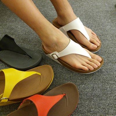 拖鞋 素面皮革顯瘦舒壓彈力夾腳涼拖(健走/厚底/拖鞋) -est shoes
