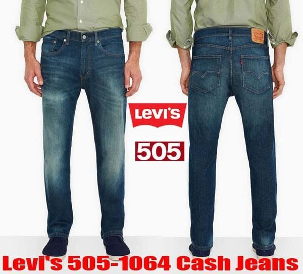 【 超搶手 】全新正品 美國Levis 505 1064 Cash Jeans 刷色水洗 深藍 直筒 牛仔褲W29-40