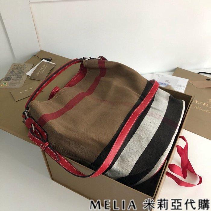 Melia 米莉亞代購 美國精品代購 巴寶莉 戰馬 女士秋冬新款 水桶包 可斜背單肩 黃麻帆布HOBO包 紅色