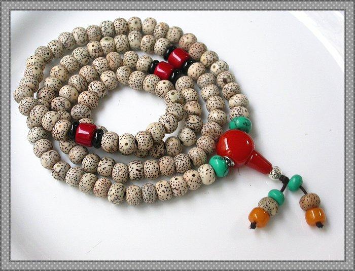 【雅之賞|藏傳|佛教文物】 *特賣* 高密正月打磨星月菩提 ( 9*7mm ) 108顆佛珠~Q1403