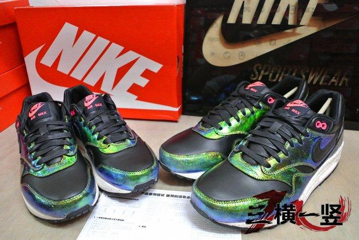 三橫一竖 NIKE AIR MAX 1 90 SUP QS FLYKNIT 氣墊休閒 男女鞋 金龜子 亮面綠黑 粉桃紅
