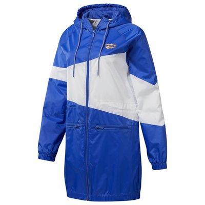 =CodE= REEBOK CLASSIC VECTOR WINDBREAKER 長版連帽外套(藍白) DY7664 女