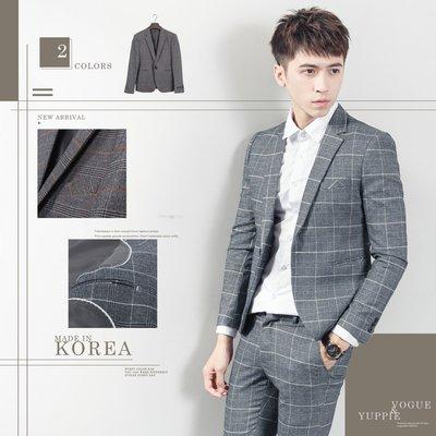 。SW。【K31165】正韓MR 韓國製 修身顯瘦 質感 彈性西裝布 窄版 雅痞紳士 格紋西裝外套 下標區  英倫