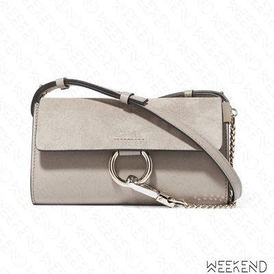 【WEEKEND】 CHLOE Faye Wallet Mini 麂皮 長夾 肩背包 斜背包 灰色