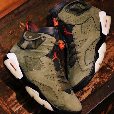 """Nike Air Jordan 6 x Travis Scoot """"Cactus Jack"""" 軍綠 夜光底"""
