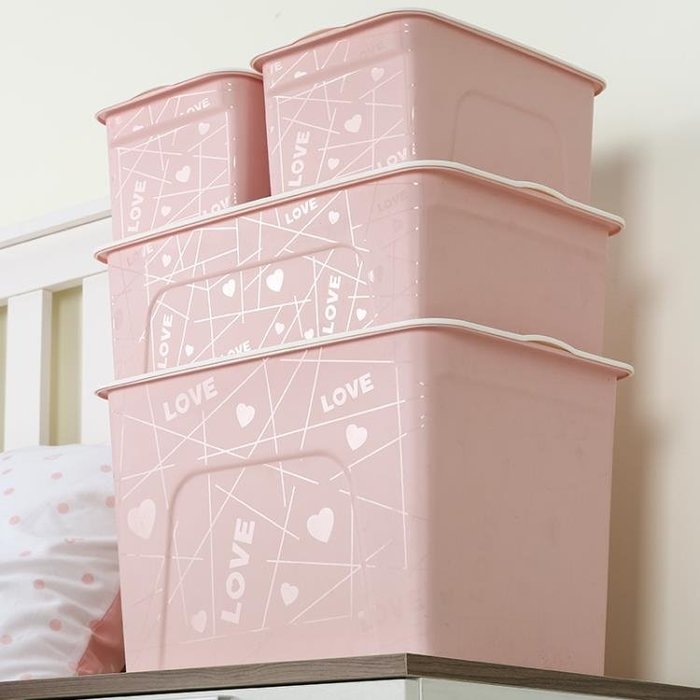手提式笑臉收納盒加厚塑料收納箱桌面儲物盒有蓋特大號清倉三件套 js1001