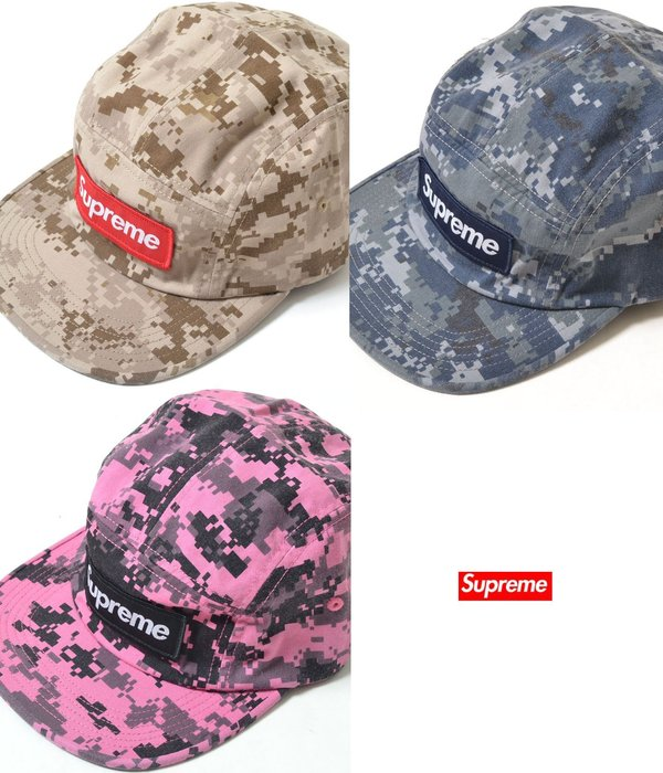 【超搶手】全新正品 2017最新Supreme NYCO Twill Camp Cap 立體BOX貼布 五分割帽 迷彩