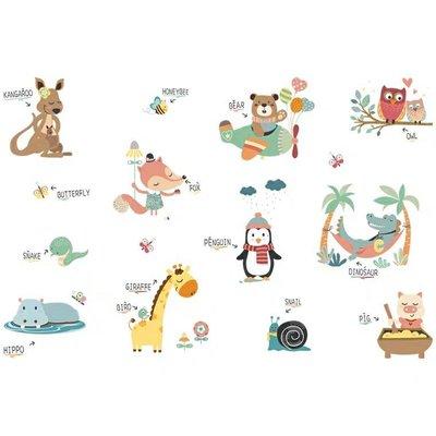 精選壁貼0010:動物英文單字趣適用客廳,臥室,教室,餐廳,樓梯間,網紅背景,窗戶等平滑表面,DIY自己的獨特風格