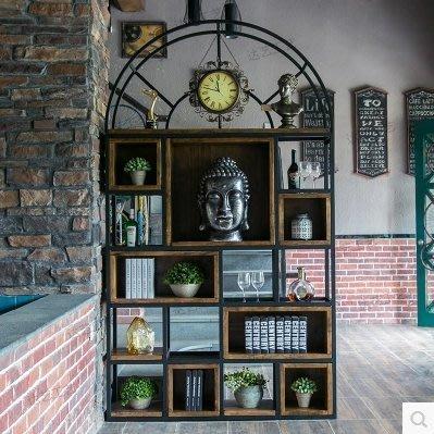『格倫雅』LOFT鐵藝書架隔斷墻美式實木方框展示架復古客廳隔斷置物架儲存櫃^31583