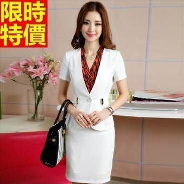 OL套裝 短袖裙裝辦公商務上班族-知性優雅時尚女西裝外套制服2色66x28[獨家進口][米蘭精品]