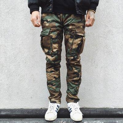 ∵ PRAY FOR FASHION ∴日系修身冬季加厚保暖鋪棉迷彩工裝褲小腿拉鏈束腳褲