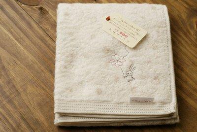 [偶拾小巷] 日本製 今治有機棉 mama's select 洗面長巾-米色:小兔與幸運草