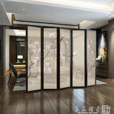 中式屏風隔斷客廳玄關實木辦公室簡約現代折屏半透明可行動折疊定制QM