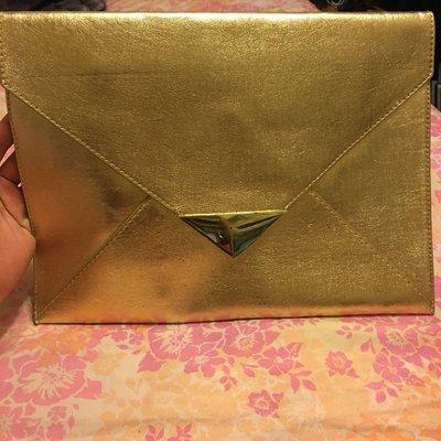 專櫃正貨H&M金色信封手拿包 資料包