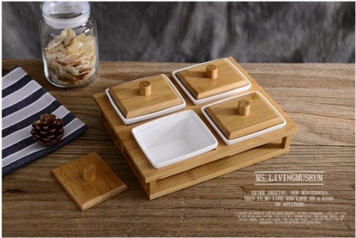 陶瓷配竹木4格帶蓋糖果盒 過年糖果盒 婚慶糖果盤 零食盤 瓜子堅果 水果盤 瓜果盤 竹木托盤 醬菜碟 小菜碟 收納罐