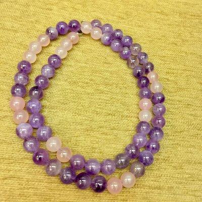 紫水晶12mm葡萄嬌紫色+粉紅馬卡龍玉髓珠串