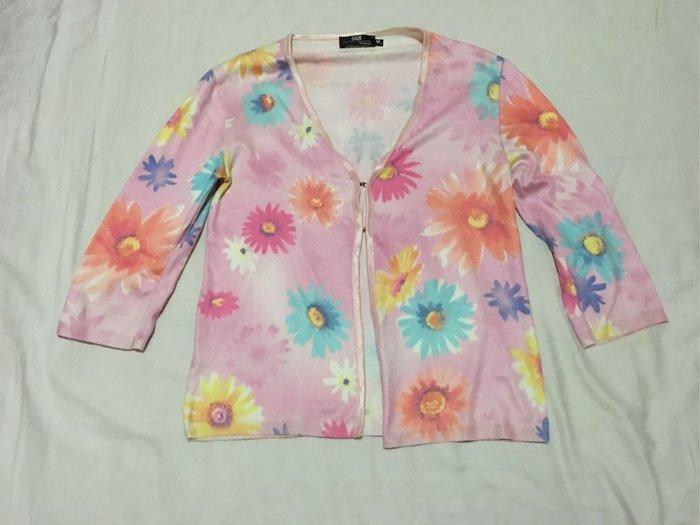 二手衣義大利製粉紅色花朵七分袖外套 薄外套