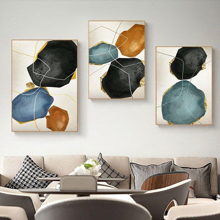 北歐現代簡約裝飾畫畫芯掛畫壁畫抽像石頭藝術微噴打印畫心(3款可選)