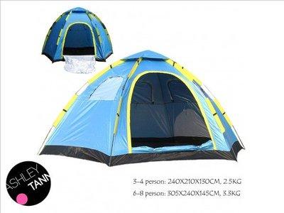 超大帳篷 3-4/ 6-8人 六角形自動一秒開哂 野營 露營戶外用品 沙灘 節日家庭活動野餐 family tent camping CA035