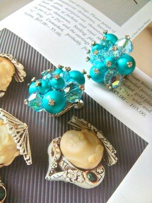 西洋古董 Vendôme 藍綠水晶寶石夾式耳環 美國珠寶 專利設計 VINTAGE //古著手環項鍊可參考 非1元起標