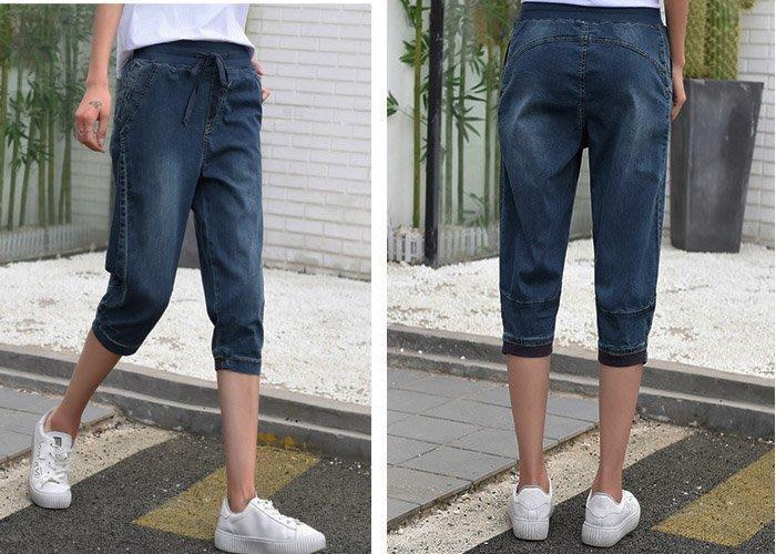 ☆嘟嘟House☆【熱賣款(EAJ03110698)~完美造型~舒適牛仔七分褲】深藍XL~5L