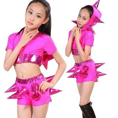 5Cgo【鴿樓】會員有優惠 38616624893 兒童現代舞表演服裝亮片男童女童爵士舞街舞演出服勁舞搖滾 兒童舞衣