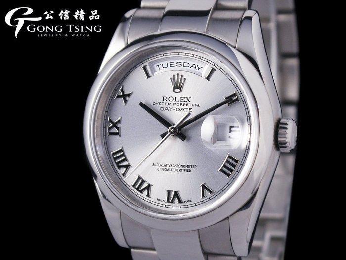 【公信當舖】 勞力士(ROLEX) 118209 原裝白K金男錶 原廠大羅馬面 新款三板帶 附原廠盒子