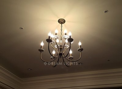 【DREAM LIGHTS】經典款全銅雕花燈臂陶瓷碟蠟燭吊燈  Divergence 1014-6+6