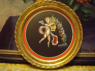 歐洲古物時尚雜貨 藝術畫作 義大利 水彩畫 作者簽名 圓框天使掛畫