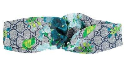 Gucci 髮帶 絲巾 花卉 頭巾 綁帶 絲巾 GG logo 髮飾 脖圍 項鍊飾品  -  藍